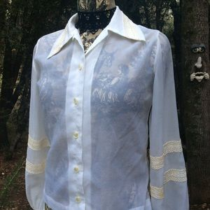 Vintage 1940 sheer Lace Trim Long Sleeve Blouse M